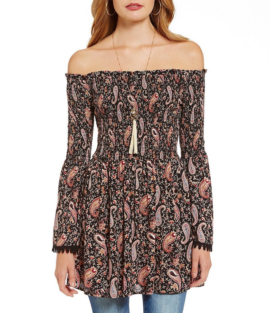 Wyldehart Off-The-Shoulder Paisley-Printed Tunic