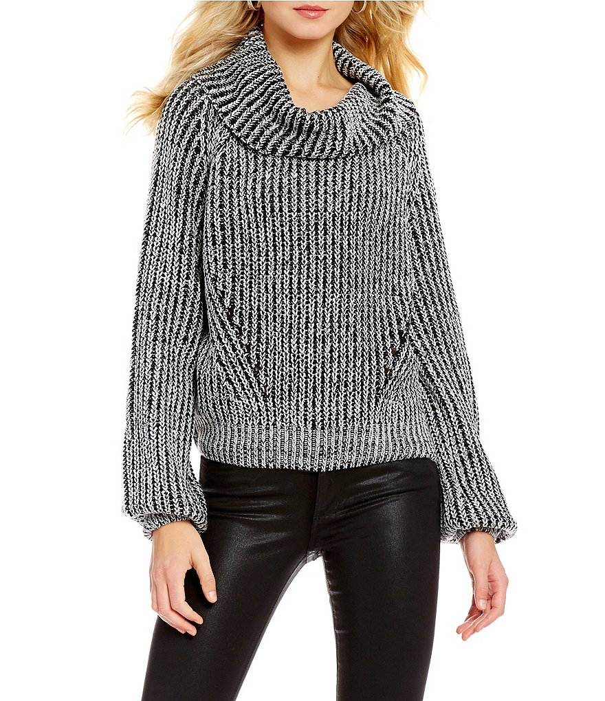 ELAN Cowl Neck Long Bubble Sleeve Chunky Sweater