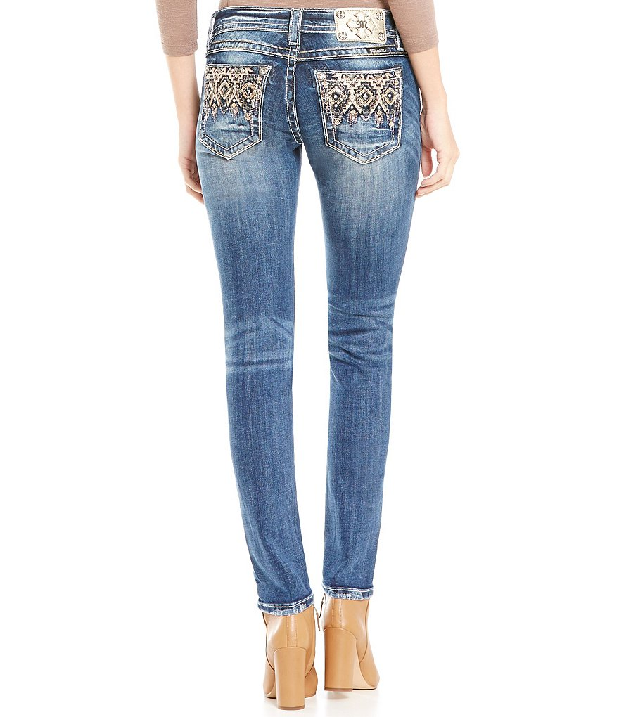 Miss Me Abstract Low-Rise Skinny Jeans