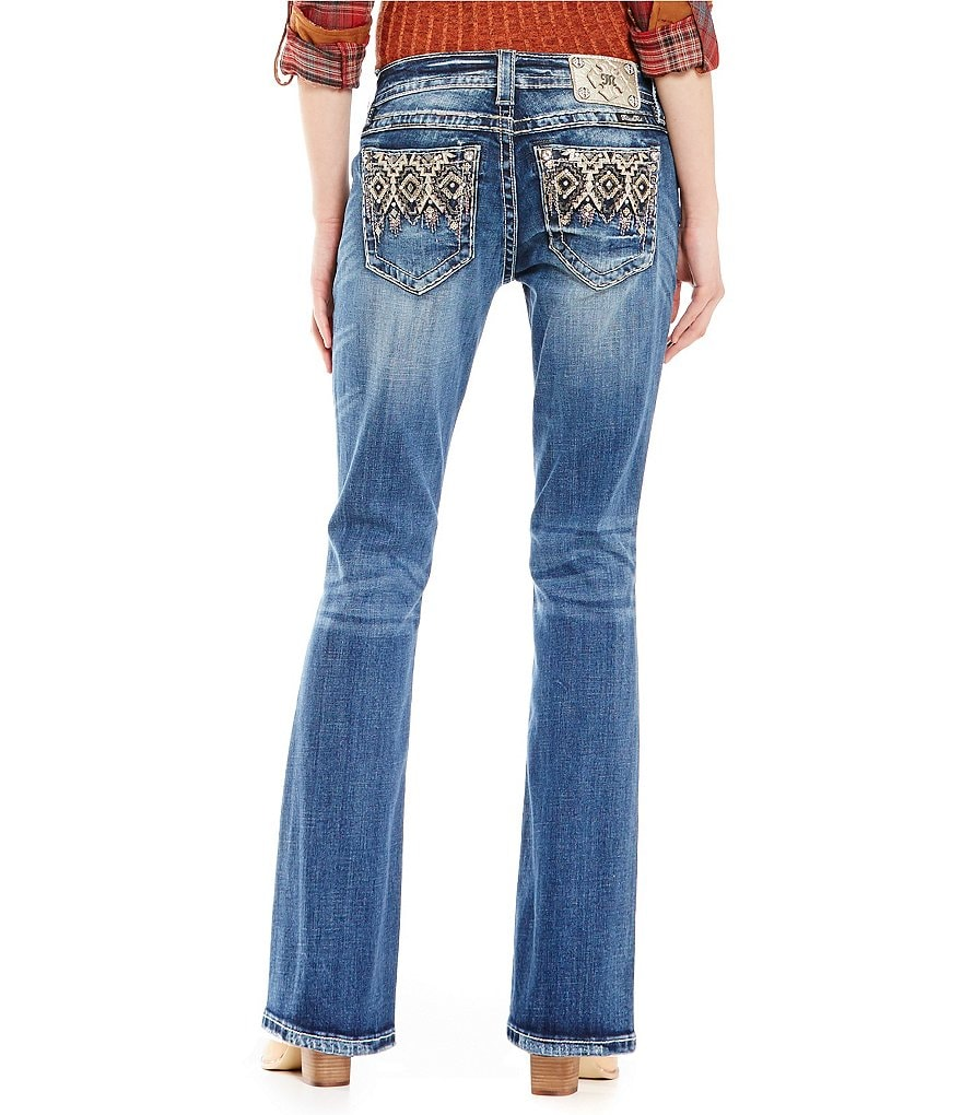 Miss Me Abstract Embelished Low-Rise Bootcut Jeans
