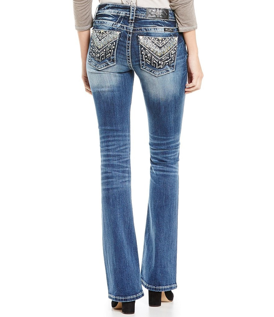 Miss Me Zigzag Leather Embellished Mid-Rise Bootcut Jeans