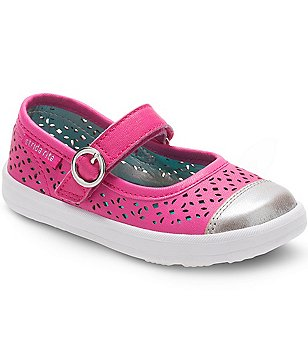 Stride Rite Girl´s Pink Poppy Perforated Leather Metallic Cap Toe Buckle Mary Janes