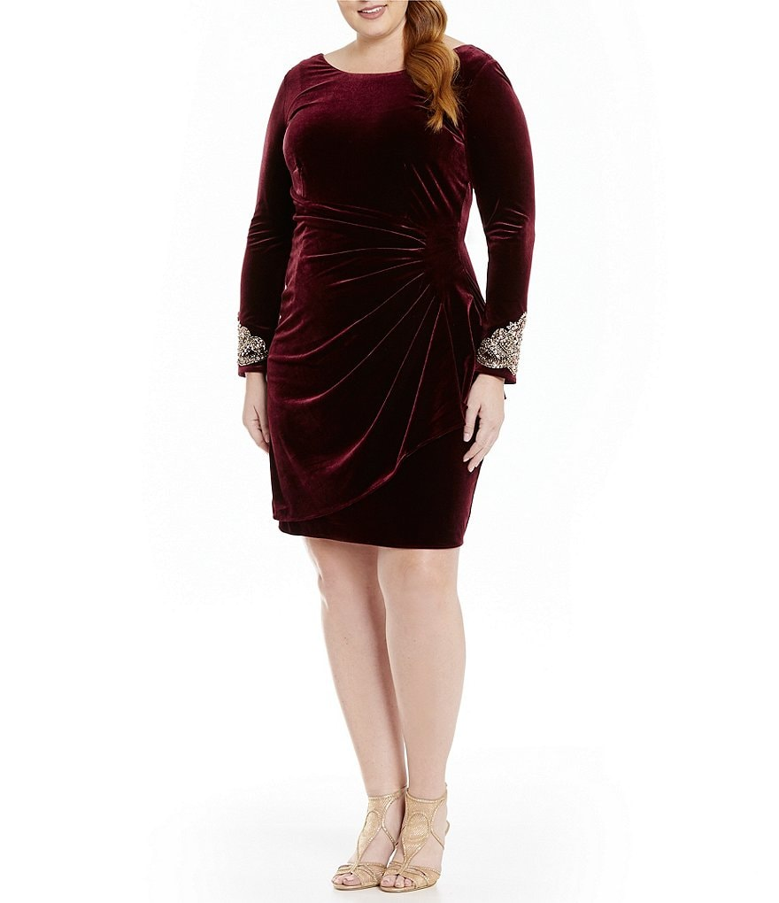 Alex Evenings Plus Beaded Velvet Ruched Shift Dress