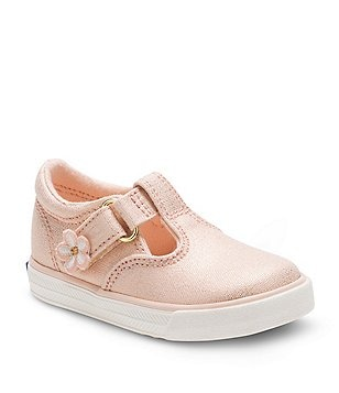 Keds Girl´s Daphne Textile T-Strap Hook-and-Loop Flower Detail Sneakers