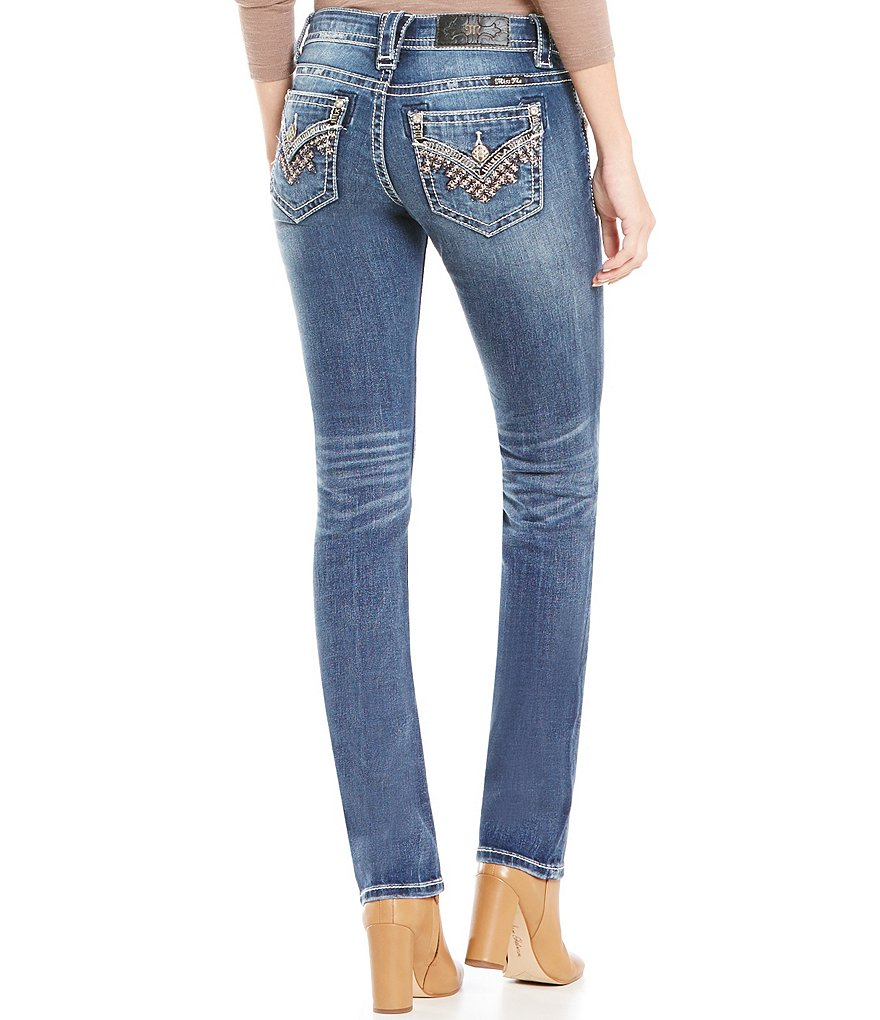 Miss Me Embroidered Flap Pocket Straight Jeans