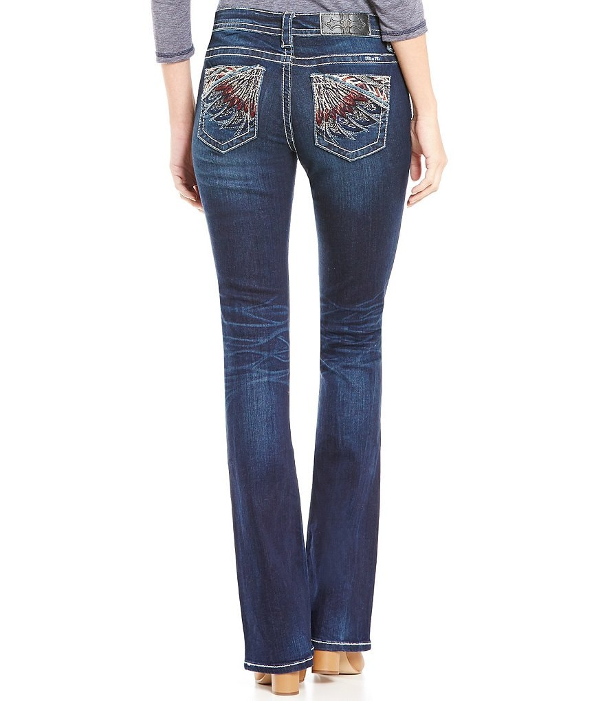 Miss Me Feather-Embroidered Low-Rise Bootcut Jeans