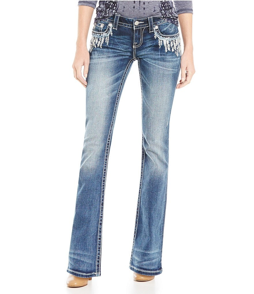 Miss Me Abstract Embroidered Feather Bootcut Jeans