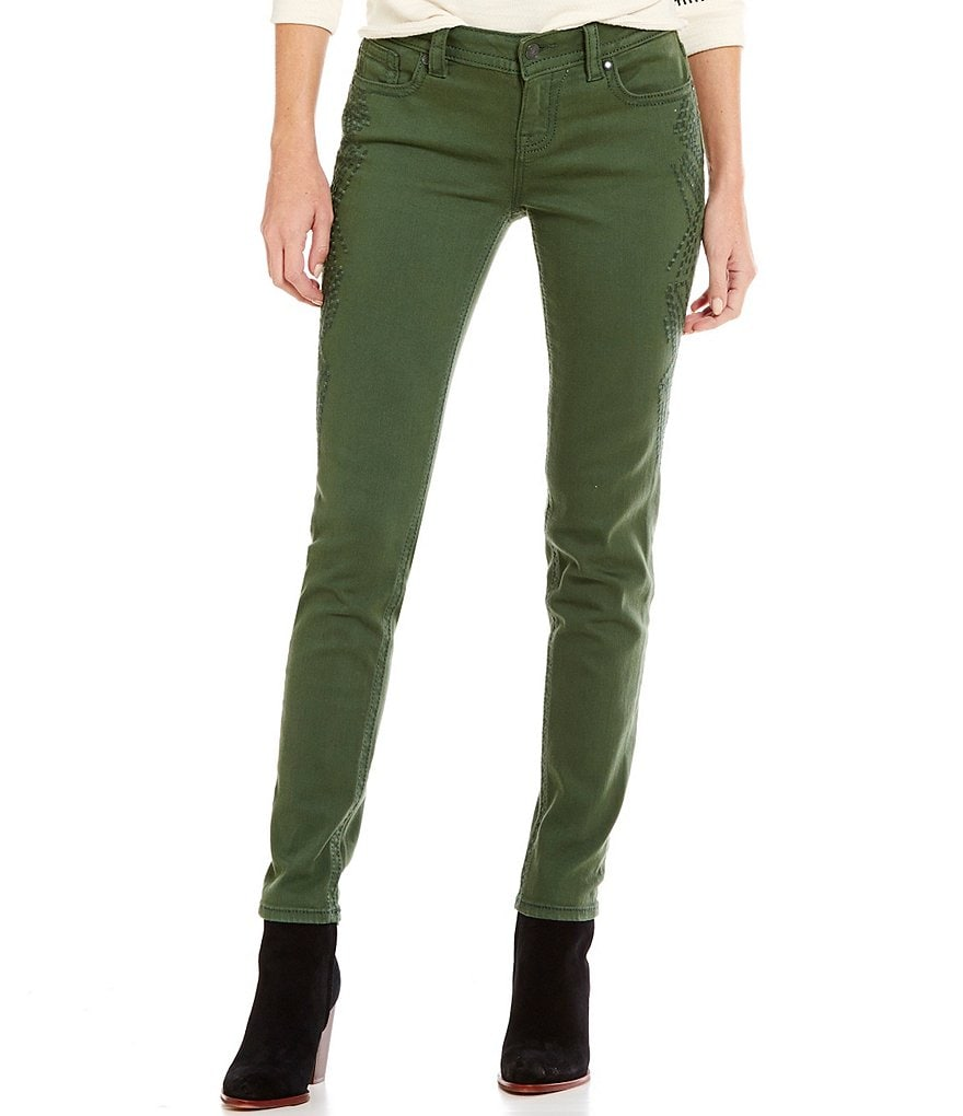Miss Me Embroidered-Pocket Mid-Rise Skinny Jeans