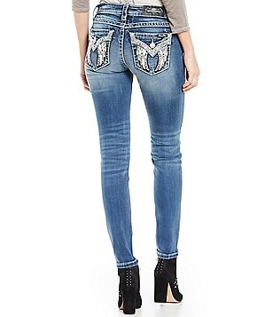 Miss Me Embellished Wing Pocket Mid-Rise Skinny Jeans
