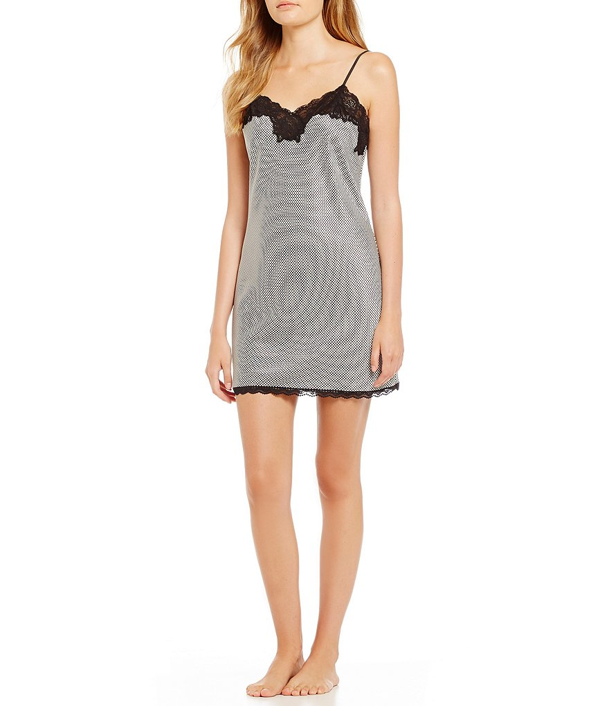 Lauren Ralph Lauren Signature Collection Houndstooth Satin Chemise