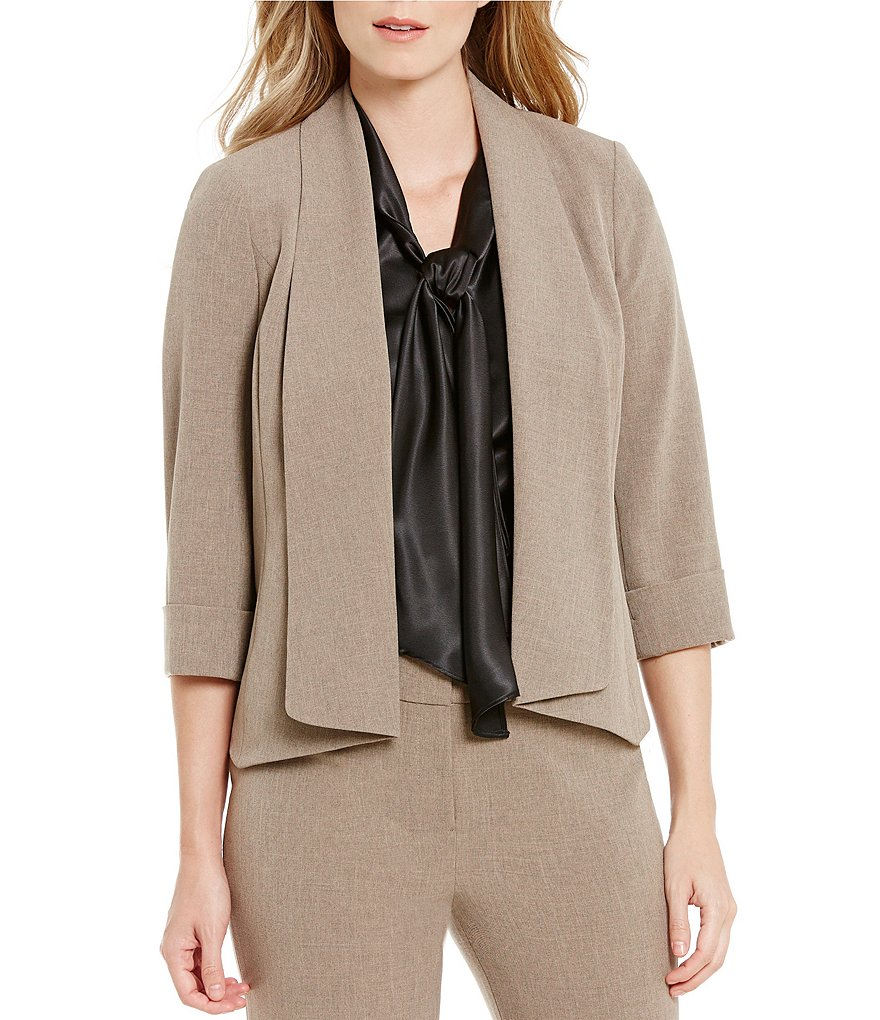 Kasper Open-Front Lapel Neck 3/4 Sleeve Stretch Crepe Jacket