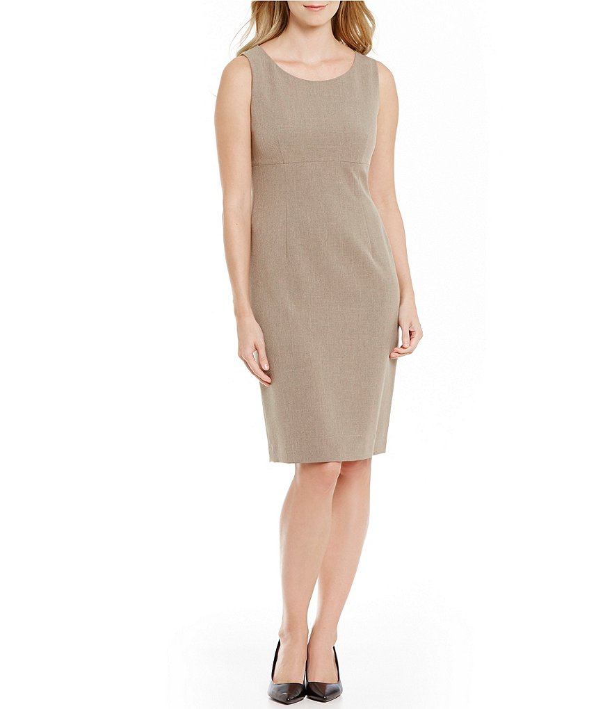 Kasper Crepe Empire-Waist Sheath Dress