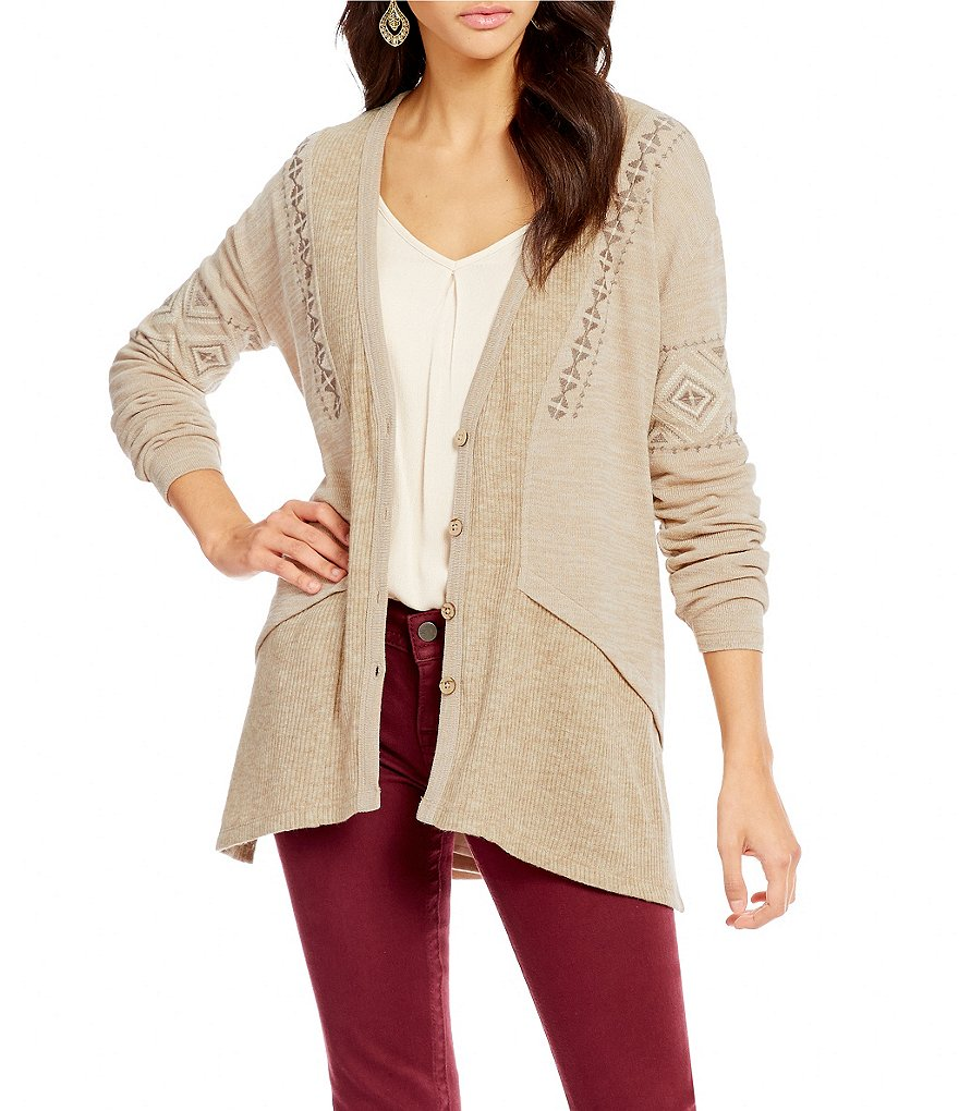 Miss Me V-Neck Embroidered Button Cardigan