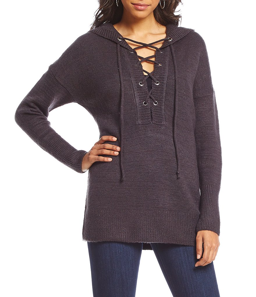 Coco + Jaimeson Lace-Up Hoodie Sweater
