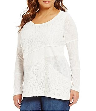 Westbound Plus Ribbed Long Sleeve Lace Patch Top