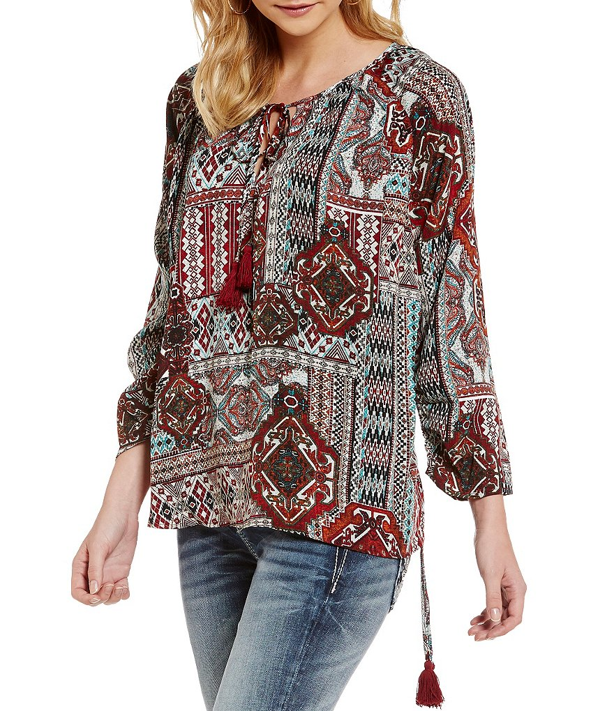 Miss Me Side Drawstring Printed Blouse