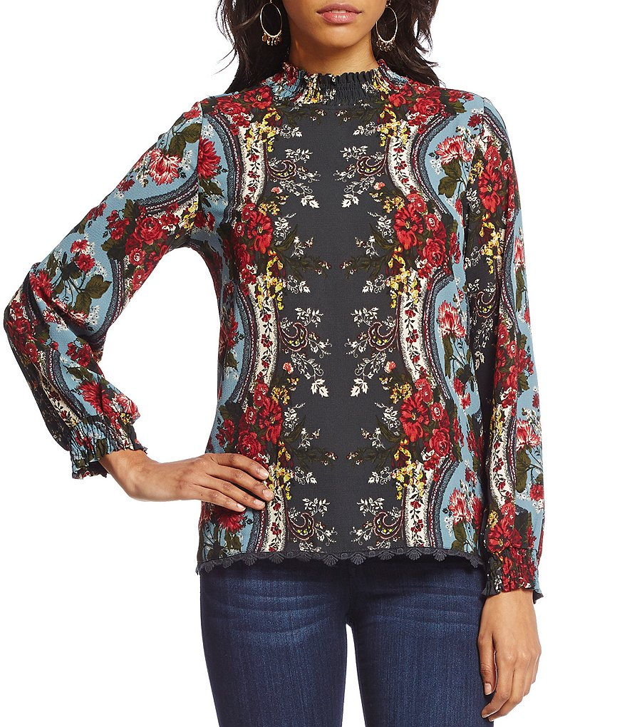 Coco + Jaimeson Placement Print Mock Neck Blouse