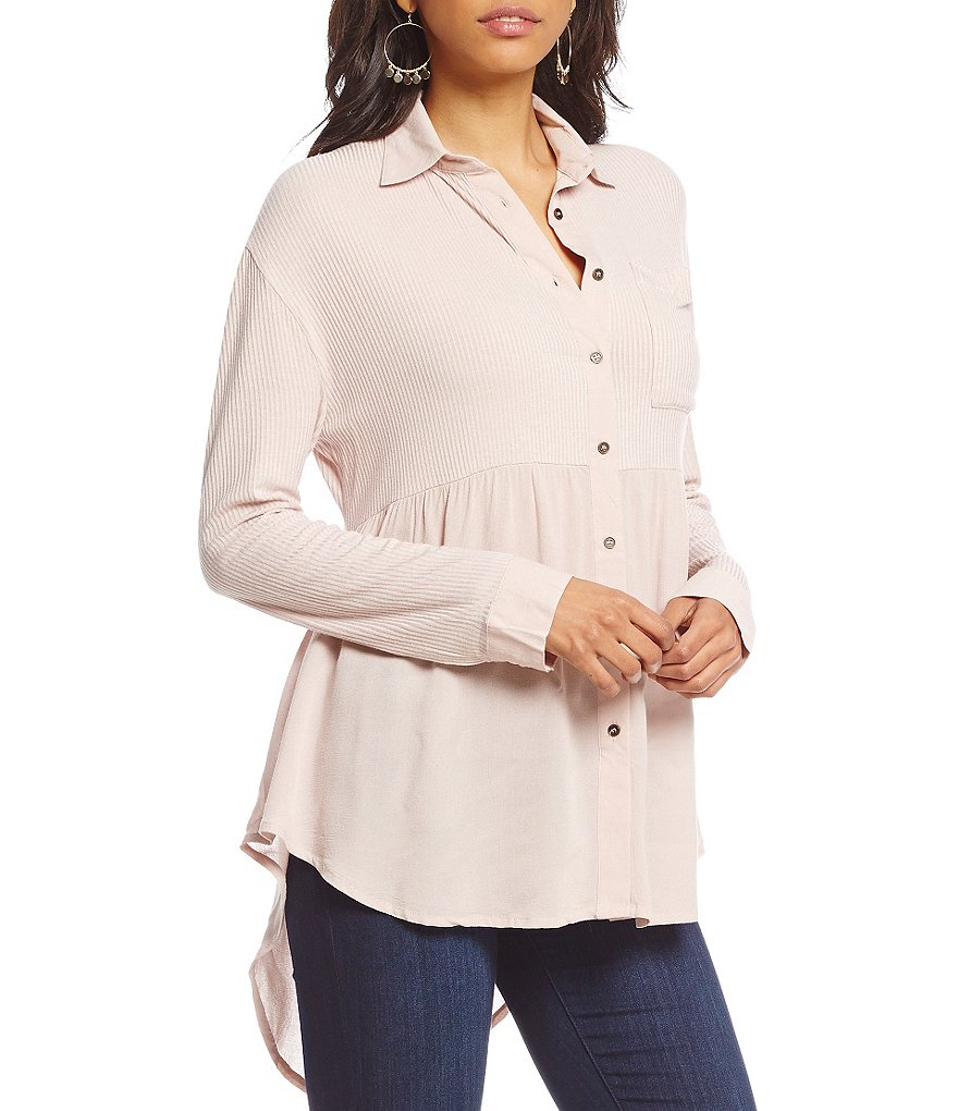 Coco + Jaimeson Mixed Fabric Button-Front Tunic Top