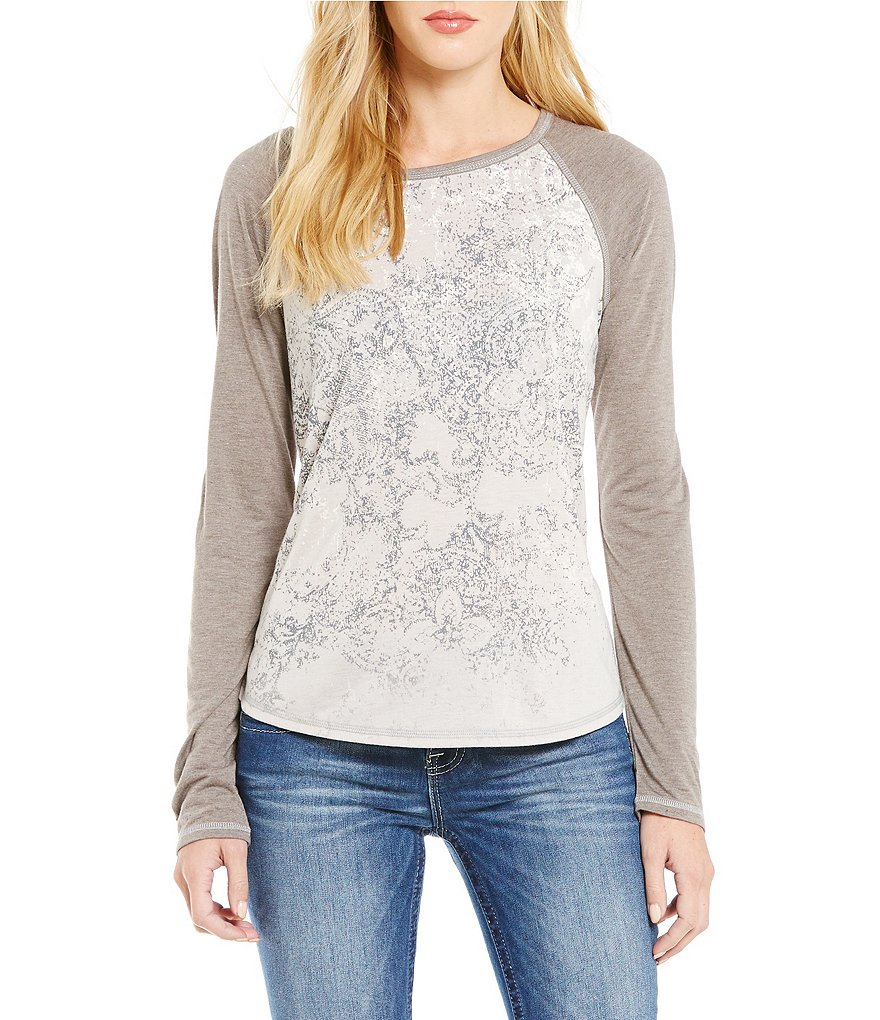 Miss Me Lace-Detailed Cutout Back Graphic Long Raglan-Sleeve Knit Top