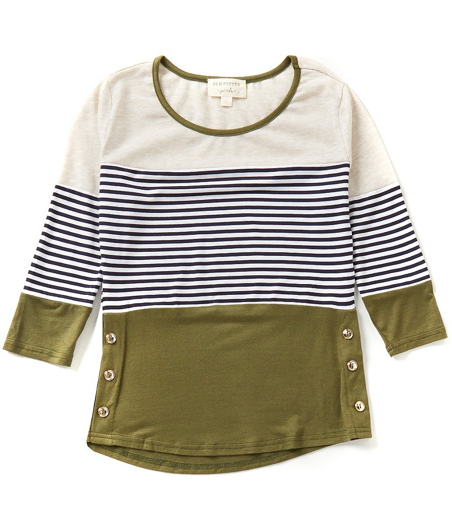 Blu Pepper Big Girls 7-16 3/4-Sleeve Striped Color Block Tee
