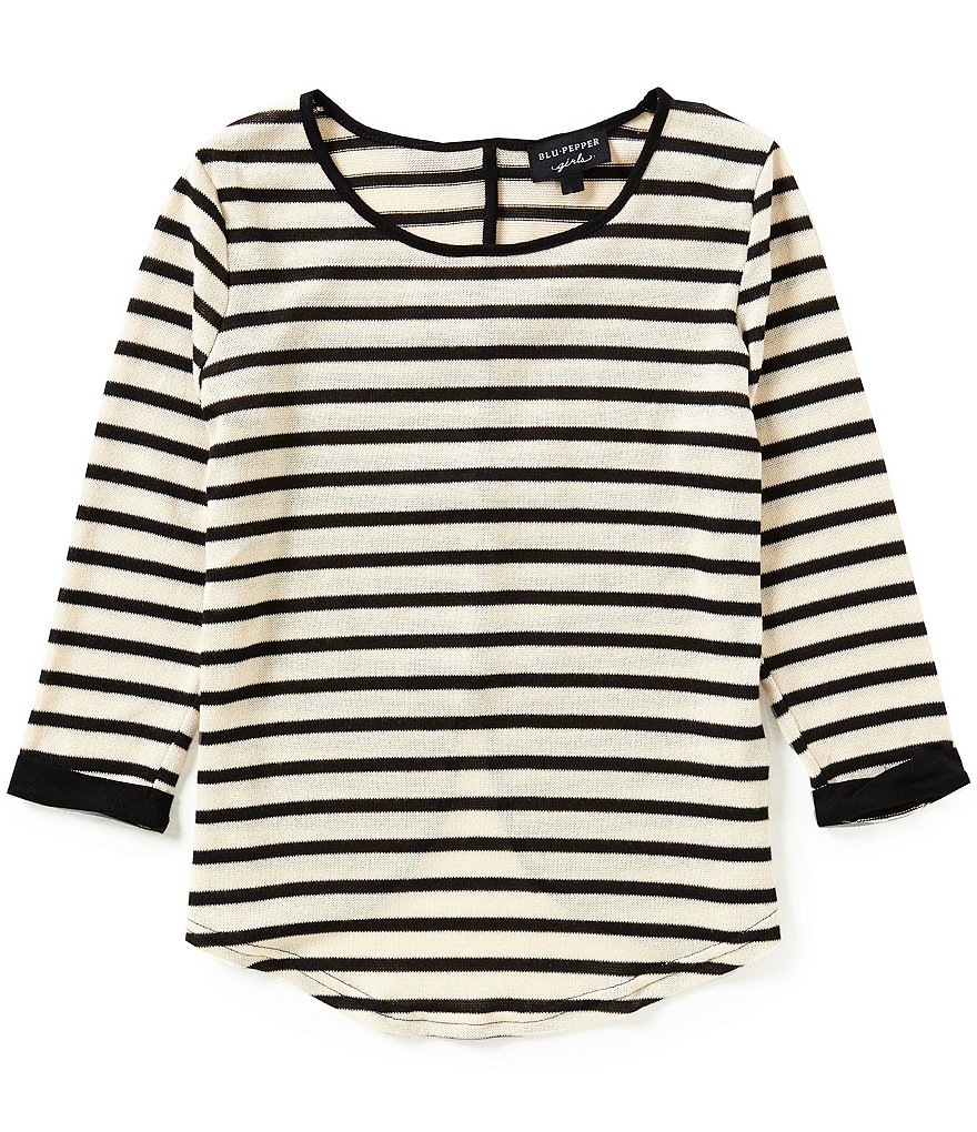 Blu Pepper Big Girls 7-16 Striped Bow-Back Top