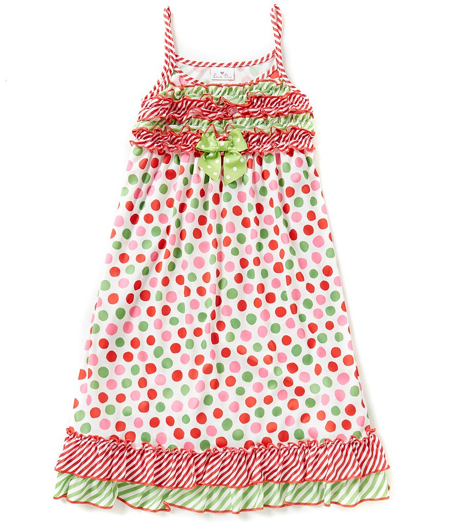 Laura Dare Big Girls 7-14 Christmas Dotted Nightgown