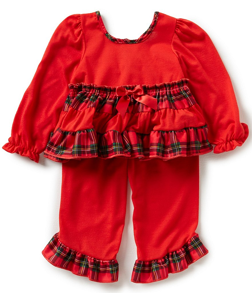 Laura Dare Little Girls 2T-4T Holiday Ruffled Top and Pants Pajama Set