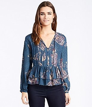 William Rast Devon Printed Peasant Blouse