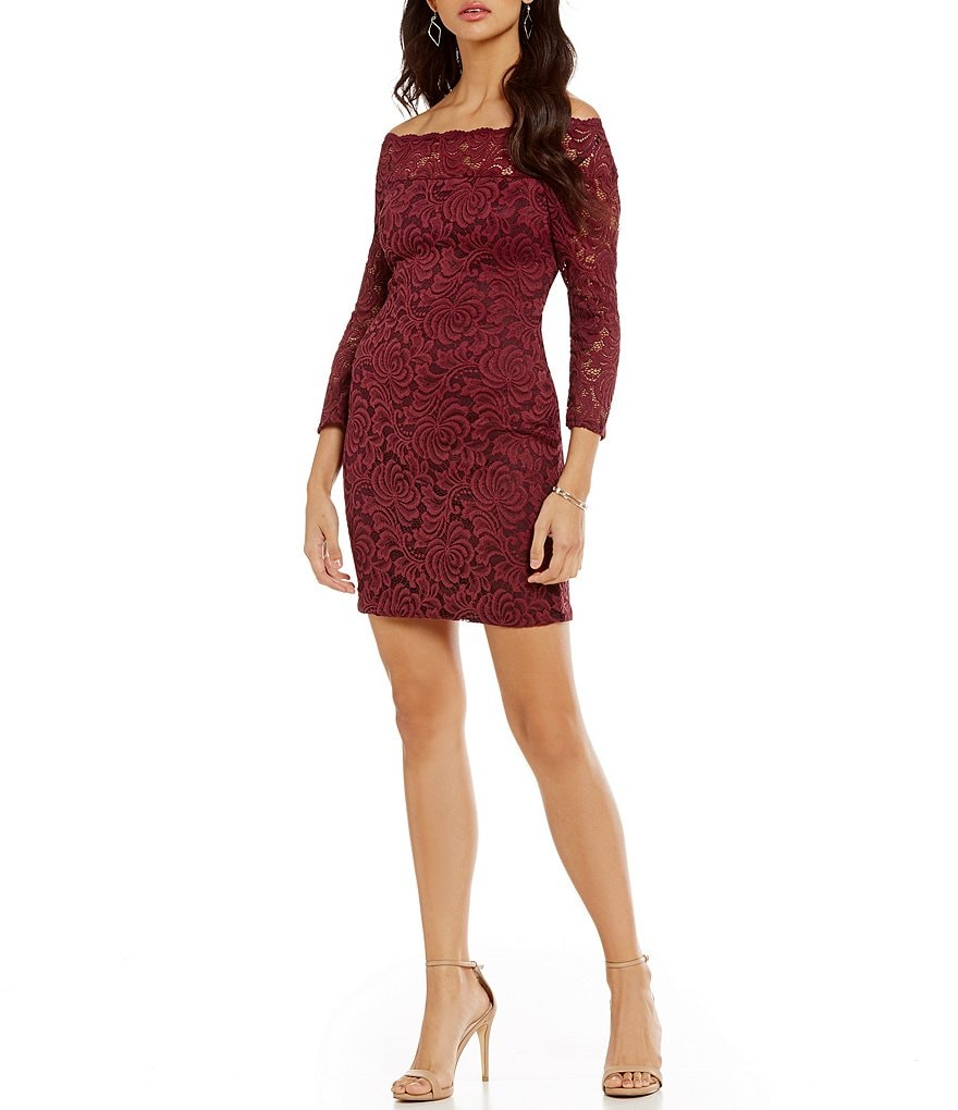 As U Wish Off-The-Shoulder Lace Sheath Dress