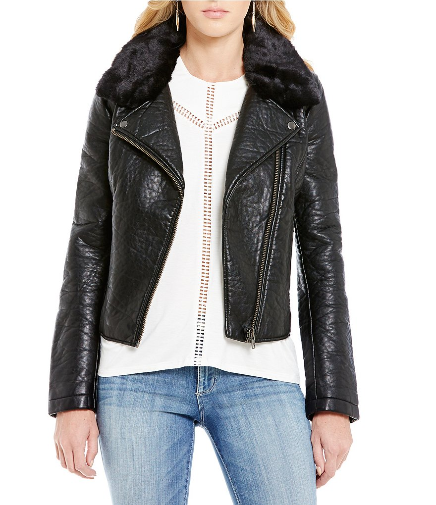 Jessica Simpson Raven Faux Fur Collar Faux Leather Moto Jacket