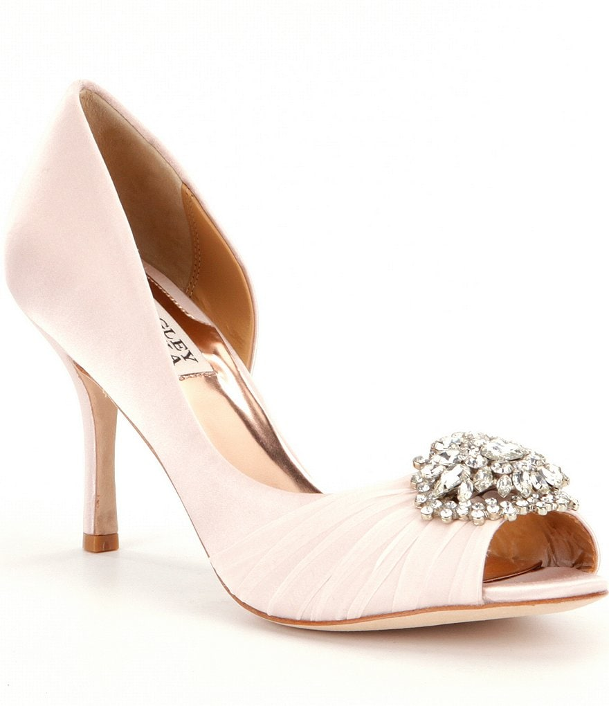Badgley Mischka Pearson Jeweled Satin d´Orsay Pumps