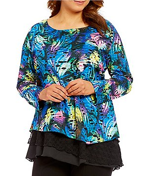 Calessa Plus Scoop Neck Multi Color Feather Print Overlay Tunic