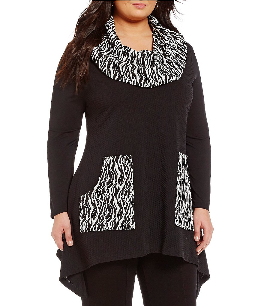 Calessa Plus Animal Print Cowl Neck Tunic