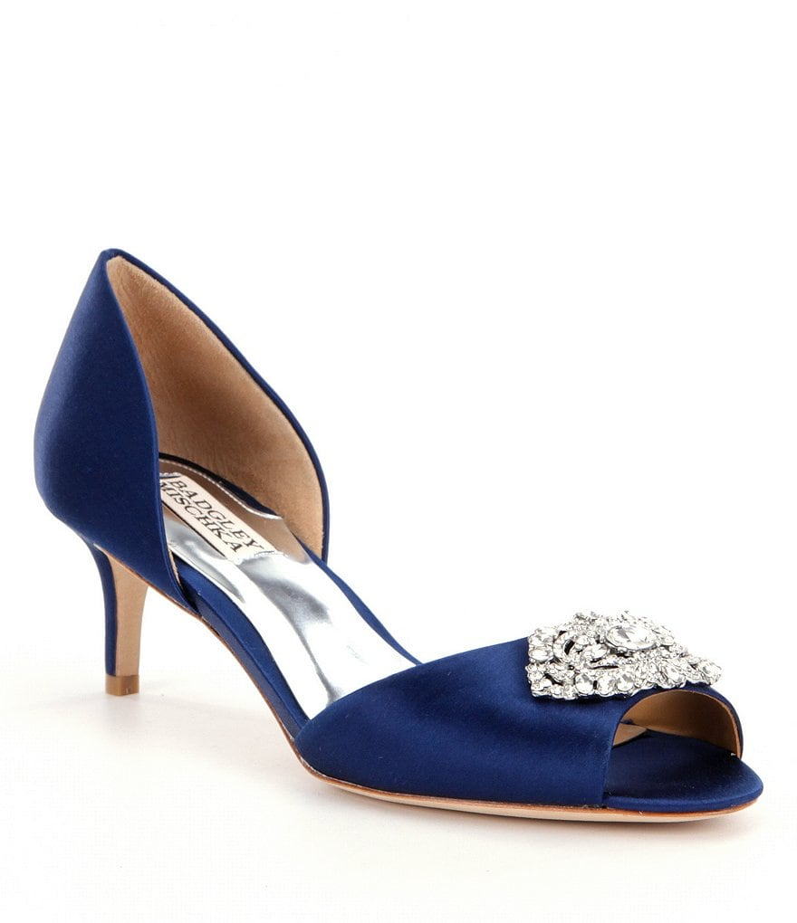 Badgley Mischka Petrina Jeweled Satin d´Orsay Pumps