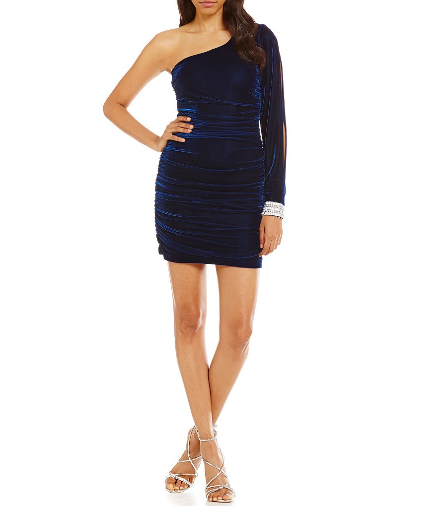 Honey and Rosie One-Shoulder Velvet Sheath Dress