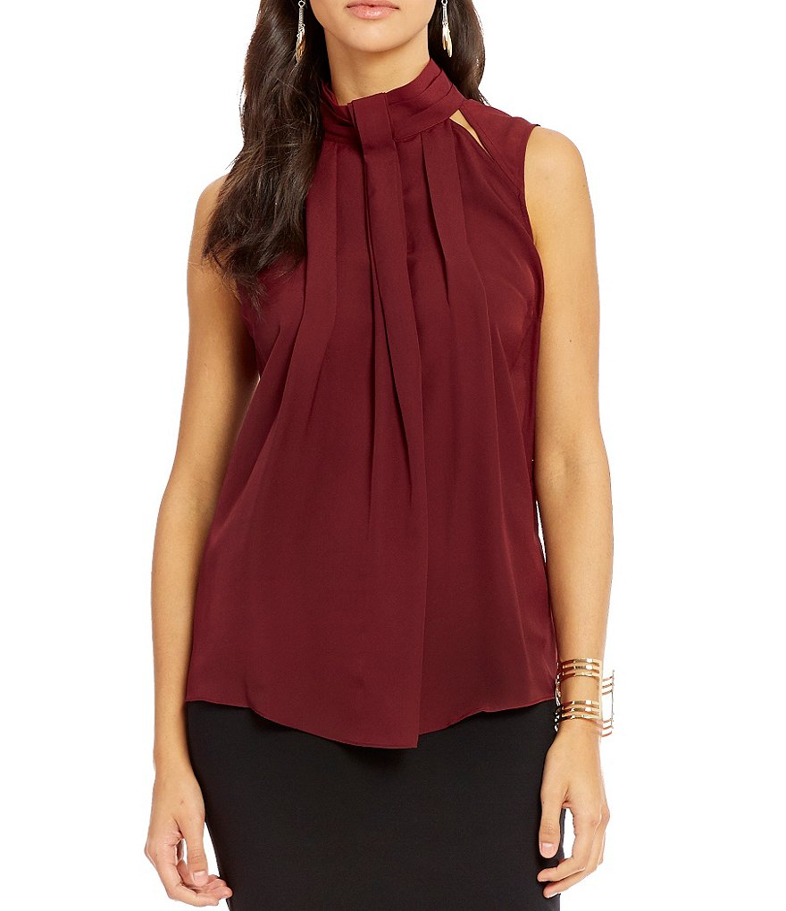 Guess Kimmy Sleeveless Cutout-Detail Pleated Top