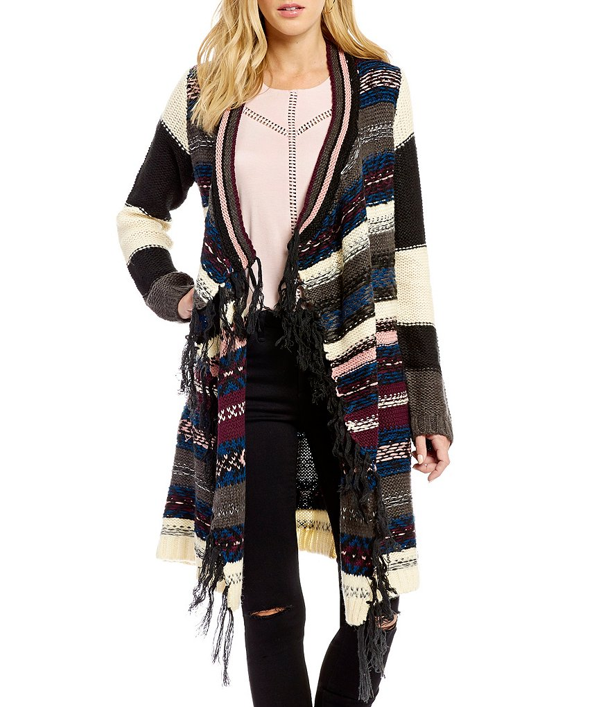 Jessica Simpson Delight Fringed Tribal Open-Front Flyaway Cardigan