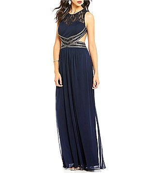 Blondie Nites Beaded Open-Back Lace & Chiffon Dress