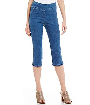 Ruby Rd. Petites Pull-On Extra Stretch Denim Cropped Capri