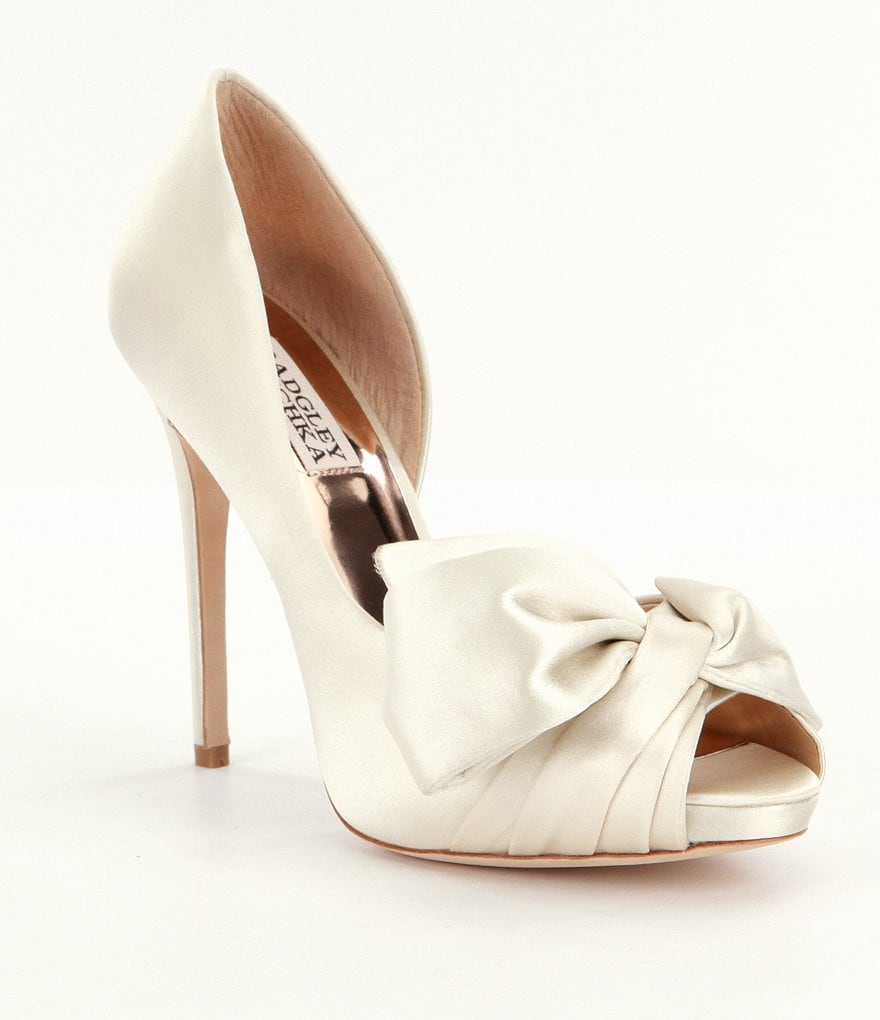 Badgley Mischka Niara Satin Bow Detail Platform Pumps