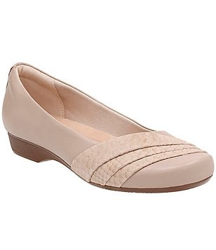 Clarks Blanche Cacee Leather & Suede Front Pleated Slip-On Flats