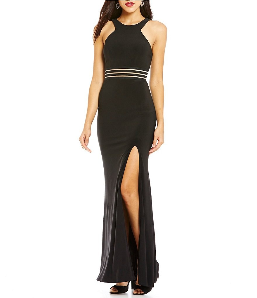 Jodi Kristopher Illusion Banded Waist Long Dress