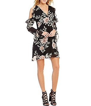 Guess Luba Long-Sleeve Cold-Shoulder Floral-Print Sheath Dress