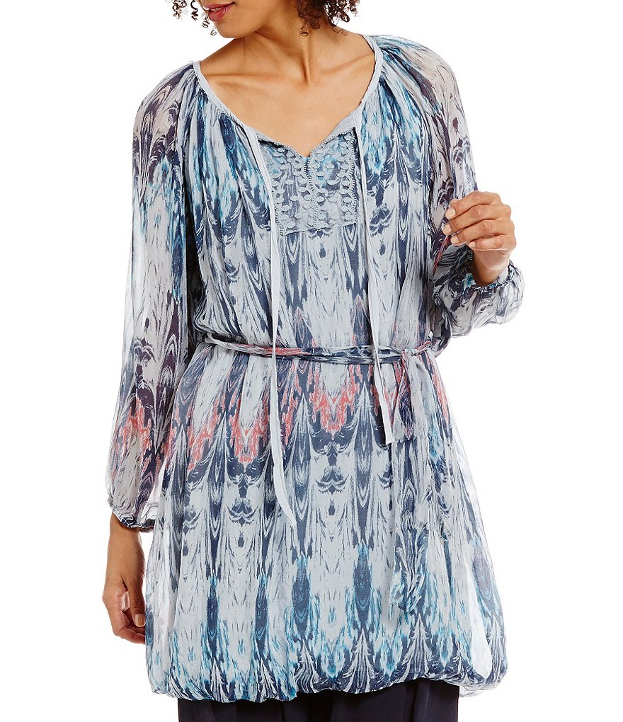 M Made In Italy Print Balloon Sleeve Tunic