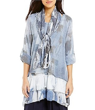 M Made In Italy Layered Print Tunic with Removable Scarf