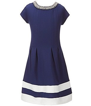 I.N. Girl Big Girls 7-16 Colorblock Jewel Neck Dress