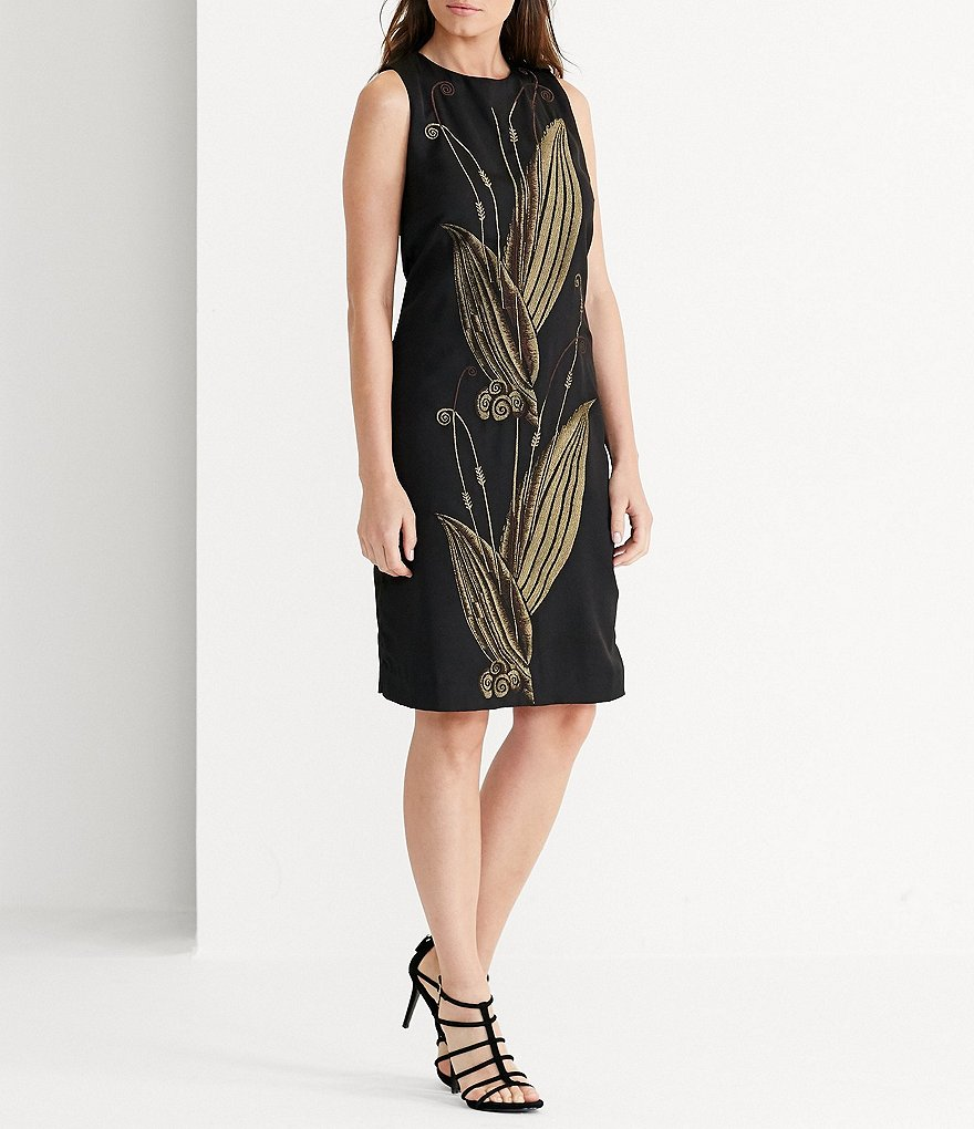Lauren Ralph Lauren Embroidered Jacquard Sheath Dress