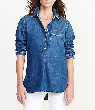 Lauren Ralph Lauren Denim Point Collar Tunic
