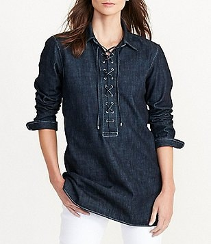 Lauren Ralph Lauren Lace-Up Denim Spread Collar Tunic
