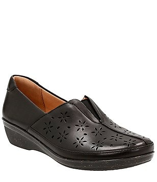 Clarks Everlay Dairyn Floral Cut Leather Slip-Ons